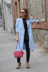 Butterfly Petty - Michael Kors Bag, Zara Pants, Guess Top, H&M Shoes - Baby blue coat