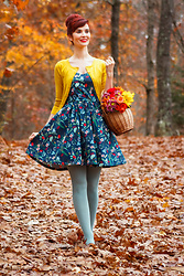 Bleu Avenue - The Other Sparrows Floral Sundress, Yemak Charter School Cardigan - The Last of Autumn