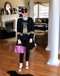 Shannon D - Sachin & Babi Coat, Vintage Yes Tour Tee, Gucci Loafers, Hermès Bag, Frame Black Cropped Denim - Casual Style