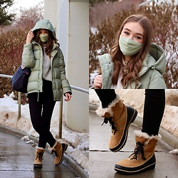 Taylor Doucette - Aritzia Silent Storm Green Super Puff, Aritzia Contour Face Mask, Sorel Tivoli Winter Boots, Longchamp Le Pliage Tote Bag, Citizens Of Humanity High Waisted Chrissy Skinny Jeans - Drivers license - Oliva Rodrigo