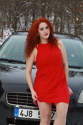 Kate P. - Cropp Red Dress, Amisu Earrings - Fall in love - red dress