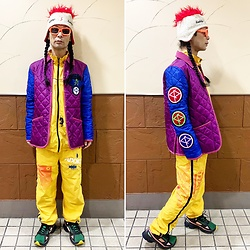 @KiD - Vintage Ski Punk Cap, Cassette Playa Crazy Pattern Jacket, Inkaddiction Set Up, Adidas Raf Simons, Typhoon Mart Sunglasses - JapaneseTrash623