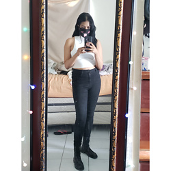 Sarah - Shein High Waisted Black Jeans, Shein White Turtleneck Crop Top, Aliexpress Combat Boots, Aliexpress Mask - Out for a while