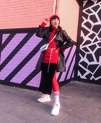 Weronika Bukowczan - Velvet Pencil Skirt, Brown Leather Coat, Long Red High Neck Jumper, Silver Cross Body Bag, Chain Belt, Red Tights, Ankle Socks, White Chunky Sneakers, Red Beenie Hat - IG: @vintageshadeson