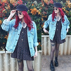Kc - Levi's Oversized Denim Jacket, Dr. Martens Jadon Boots - Thrifted Dress