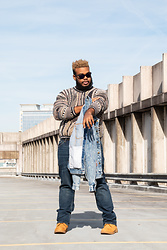 Jordan Burton - Timberland Boots, Levi's Jeans, Member's Only Denim Jacket, Tundra Vintage Sweater, Ray Ban Glasses - City Scape.