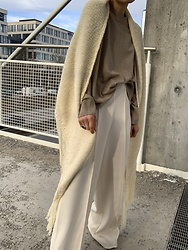 Anna Borisovna - Mango Cape, Mango Pants, Arket Sweater - The knit cape