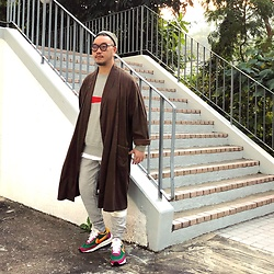 Mannix Lo - Stripes Smoking Gown, Uniqlo X Cocacola Sweater, H&M Sweat Pants, Sacai X Nike Ldv Waffle Sneakers - Only you and you alone can change your situation