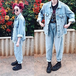 Kc - Levi's Oversized Denim Jacket, Dr. Martens Jadon Boots, Cotton On Baggy Jeans, Cotton On Pink Floyd Shirt - Denim on Denim