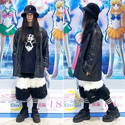 @KiD - Kangol Hat, Ghostemane Tee, Vintage Leather Jacket, Buttstain Monster Fur Shorts, Buffalo Platform - JapaneseTrash624
