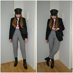 Mucha Lucha - Topshop Hat, H&M T Shirt, Second Hand Blazer, Topshop Bag, Monki Trousers, Topshop Boots - Halloween date