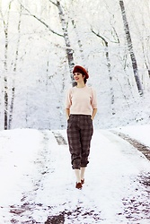Bleu Avenue - Shein Plaid Pants, Forever 21 Pink Sweater - Newsboy Style
