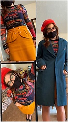 Jack Pal - Hot Topic Fantastic Beast Coat, Thrift Shop Vintage Mid Length Skirt, Firmoo Black Rim Glasses, Shop In Tokyo Sheer Shirt, Vintage Store Red Hat, Jcpennys Black Heels - Old time Tokyo