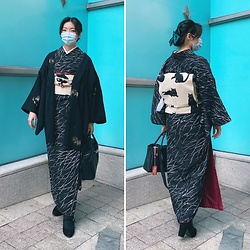 Flosmoony - Kimono, Haori, New Bag, Cat Obi - 2021/007 birthday wear