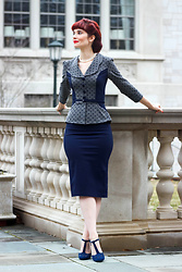 Bleu Avenue - Stop Staring Leonora Navy Polka Dot Wiggle Suit Dress - Power Suit