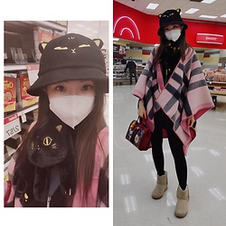 Ming Francis - British Museum Anderson Cat Cap, British Museum Anderson Cat Scarf, Burberry Pink Poncho, Juicy Couture Winter Short Boots, Gucci Floral Bag, Michael Kors Black Poncho - Grocery Shopping Look