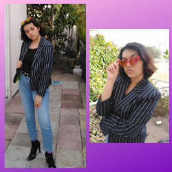 Jadie - Thrift Black And White Striped Blazer, Blue Jeans, Walmart Belt With Gold Charm, Black Tank Top, Madrag Pink Sunnies With Orange/Yellow Tint, Black Vintage Heels - 1/31/21 OOTD
