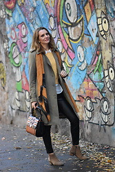 Butterfly Petty - Guess Bag, Burberry Coat, Zara Pants, Zaful Sweater, H&M Shirt - Yellow shades