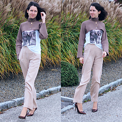 Claire H - Zara Bolero, H&M T Shirt, Lyvem Beige Trousers Harvey, Högl Pointed Heels - Disappearance finished