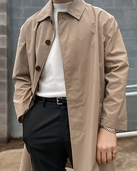 Joshua A. Davies - Zara Mock Neck Short Sleeve Sweater, Zara Lightweight Water Repellent Trench Coat, Neil Barrett Smooth Leather Skinny Belt, Vitaly Design Kickback Bracelet, Vitaly Design Grip Ring, Zara Slim Tailored Pants - It's a good day for a trench coat.