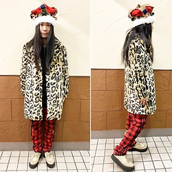 @KiD - Round The World Crown Hat, Forever 21 Leopard Coat, Adidas Bondage Jersey, George Cox Rubber Sole - JapaneseTrash627