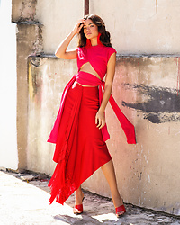 Sisi R.R. - Stella Nolasco Red Skirt, Stella Nolasco Fuchsia Crop Top, Stella Nolasco Red Feather Earring - February Mood