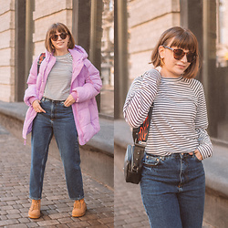 Christina & Karina Vartanovy - Gap Lilac Upcycled Puffer, Justfashionnow Black And White Striped Top, Justfashionnow Cotton Jeans In Deep Blue, Justfashionnow Lace Up Flat Hiker Boots In Brown, Bershka Crossbody Bag With Flame Print - Christina // anyone