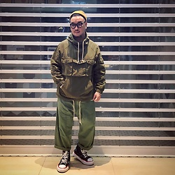 Mannix Lo - Anorak, Loose Fit Cropped Pants, Miharayasuhiro X Nigel Cabourn Destroyed Denim Sneakers - I can do small things in a great way