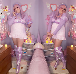PastelKawaii Barbie - Shein Iridescent Lavender Heart Rhinestone Buckle Puff Sheer Sleeve Swim Top, Romwe Lavender Heart Cut Out Turtle Neck Too, Pastel Pixie Shop Pink Ruffle Plaid Heart Skirt, Sparkl Fairy Coutour Iridescent Lavender Thigh High, Shein Iridescent Purple Head Band, Dream Holic Pale Grey Pink Lavender Split Wig - Miss Lavender Valentine💜