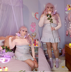 PastelKawaii Barbie - Malicious Designs High Waist Lavender Peplum Skirt, Romwe Heart Belt Off Cold Shoulder Pink Crop Top, Amazon Ruffle Lace Lavender Lolita Boots, Romwe Faux Fur Lavender Pink Winged Heart Pompom Earrings, Amazon Pink Brown Pale Wavy Wig - Bashful Angel Valentine