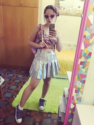 Fia Van den Berg - Ali Top, Dolls Kill Holographic Skirt 💿, Twisted Sunnies, Sin Say Sneakers - Holo 💿