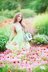 Shelly G - Free People Green Dress, Kate Spade Green Bag - Green Sundress