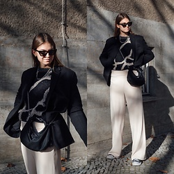 Jacky - Ethletic Sneaker, Inwear Wide Pants, Inwear Cozy Pullover, Prada Small Bag, Saint Laurent Cateye Sunglasses, Zara Oversized Blazer - Wide pants, knitted sweater and black blazer