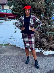 Lisa York - Shein Plaid Skirt - Beret and Plaid!