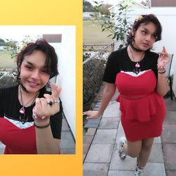 Jadie - Diy Yellow Flower Hair Clip, Spider Earrings, Velvet Choker, 90s Choker, Hottopic Green Day Band Tee, Goodwill Red Dress, Diy Pink Necklace, Hobby Lobby Chain, Flea Market Silver Necklace, Assorted Rings, Assorted Bracelets, Madrag Magazine Print Platform Boots - 2/13/21 Look 3 Hopeless Romantic