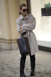 Anna Borisovna - Inwear Coat, Hvisk Bag, Proenza Schouler Boots, Bottega Veneta Sunglasses, Mango Earrings - The beige Coat