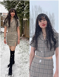 Ada Mae Parcon - Shein Plaid Button Front Blouse & Split Hem Skirt Set, Zara Over The Knee Boots - Snow Princess