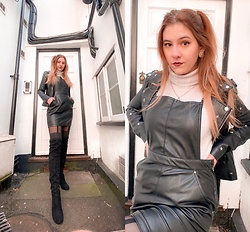Elisa B. - H&M Leather Skirt, Seaside Knee High Boots, Lefties Star Leather Jacket - 13.02.21