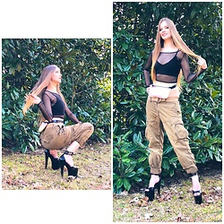 Lucy - Thrifted Crop Top, Thrift Store Holographic Pink Fanny Pack, Calvin Klein Olive Green Cargo Pants, Pleaser Super High Heels - Sunny day in my favorite pants-- first look!