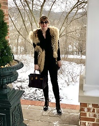 Shannon D - Adrienne Landau Leopard Fur & Leather Vest, Louis Vuitton Boots, Chloé Sunglasses, Hermès Bag - Happy Valentines Day