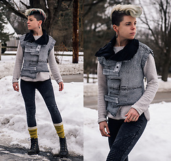 Carolyn W - Demobaza Vest, H&M Cream, Moto, Wool, Fly London Black - Casual Zombie Apocalypse Look?