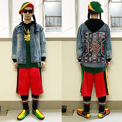 @KiD - Bob Marley Knit Cap, Insight Denim Jacket, Adidas Shorts, Typhoon Mart Sunglasses, Vans Slip On - JapaneseTrash629