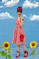 Bleu Avenue - Collectif Mainline Candice Striped Swing Dress, Lobster Crossbody Bag, Red Bow Heels - Caribbean Dreaming