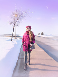 Shelly G - Guess Purple Velvet Coat, Guess Boots, Michael Kors Leopard Bag - Purple Velvet Winter Look