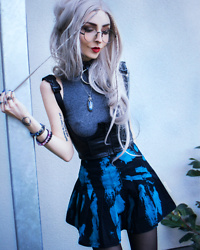 Kimi Peri - Postergrl My Type Underboob Corset, Current Mood Crystal Hearts Pleated Mini Skirt, Solrayz Labradorite Necklace, H&M Grey Top, Uniwigs Grey Hair, Disturbia Ring Choker, Round Glasses, Black Tights - My Type 💙