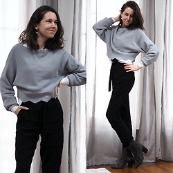 Claire H - H&M Cropped Sweater, H&M Black Paper Bag Pants, Studded Boots - Keep it monochrome