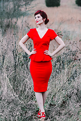 Bleu Avenue - Collectif Red Peplum Wiggle Dress - Red Peplum