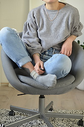 Kelly Doll - Pepe Jeans Blue Mom, Grey Oversized Sweater - Oversized pants oversized arms