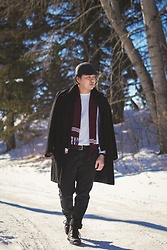 Mat Harvey - Guess Winter Heavy Coat, H&M Plain White Sweater - Spring on the go