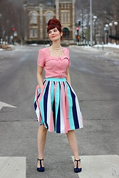 Bleu Avenue - Belle Poque Sweetheart Neck Short Sleeve Curved Hem Button Placket Blouse, Collectif Seaside Stripe Skirt - Belle Poque Top